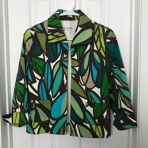 Andre Oliver Green Abstract Printed Blazer